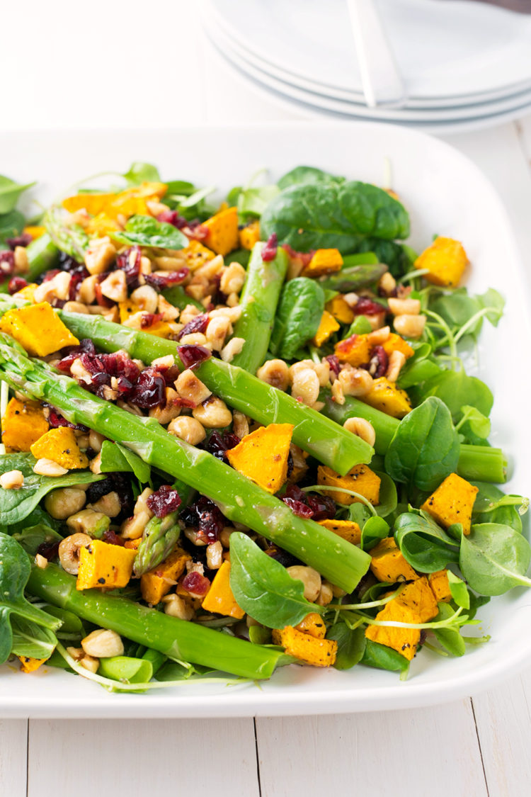 Pumpkin Asparagus Salad with Hazelnut Cranberry Dressing