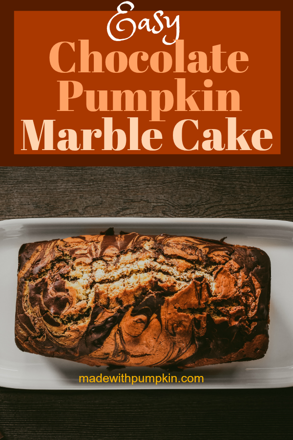 This easy chocolate and pumpkin marble cake is not only delicious but makes a beautiful presentation on the plate! Can be made in load pans or bundt pans.