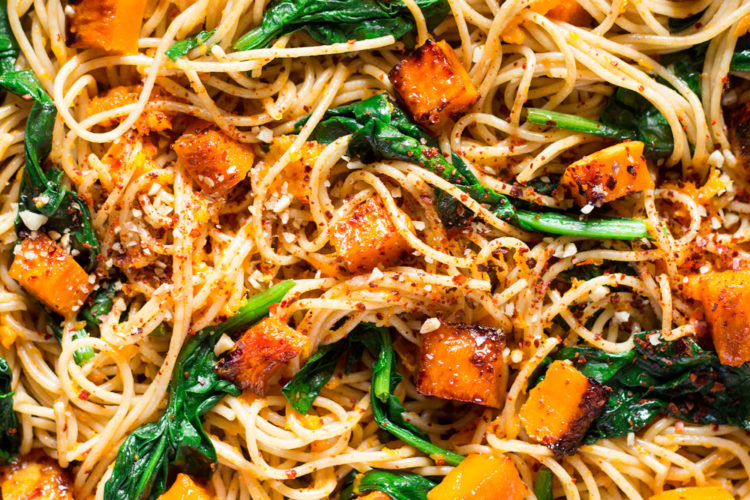 Pumpkin, Spinach and Walnut Spaghetti